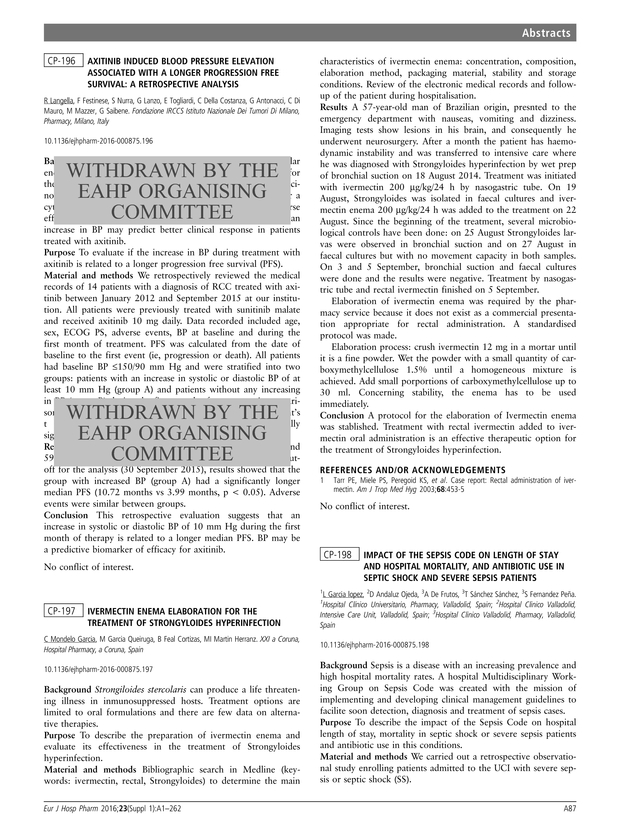 CP-196 Abstract withdrawn by the EAHP Organising Committee