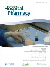 European Journal of Hospital Pharmacy: Science and Practice: 19 (5)