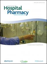 European Journal of Hospital Pharmacy: Science and Practice: 20 (1)