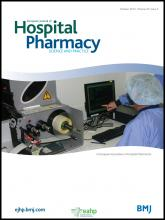 European Journal of Hospital Pharmacy: Science and Practice: 20 (5)