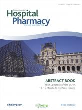 European Journal of Hospital Pharmacy: Science and Practice: 20 (Suppl 1)