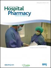 European Journal of Hospital Pharmacy: Science and Practice: 21 (1)