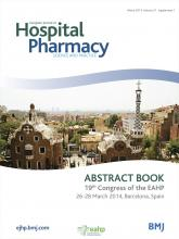 European Journal of Hospital Pharmacy: Science and Practice: 21 (Suppl 1)