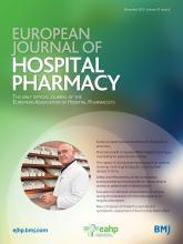 European Journal of Hospital Pharmacy: 22 (6)