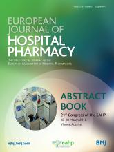 European Journal of Hospital Pharmacy: 23 (Suppl 1)
