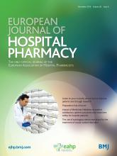 European Journal of Hospital Pharmacy: 26 (6)