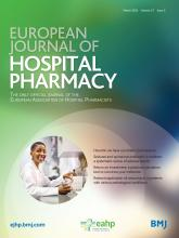 European Journal of Hospital Pharmacy: 27 (2)